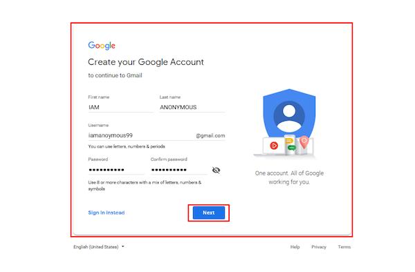 gmail ناشناس